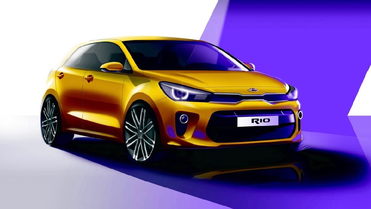 new kia rio sketched before paris reveal chasing cars. Black Bedroom Furniture Sets. Home Design Ideas