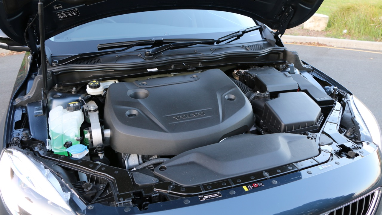 The D4 engine of a 2017 Volvo V40