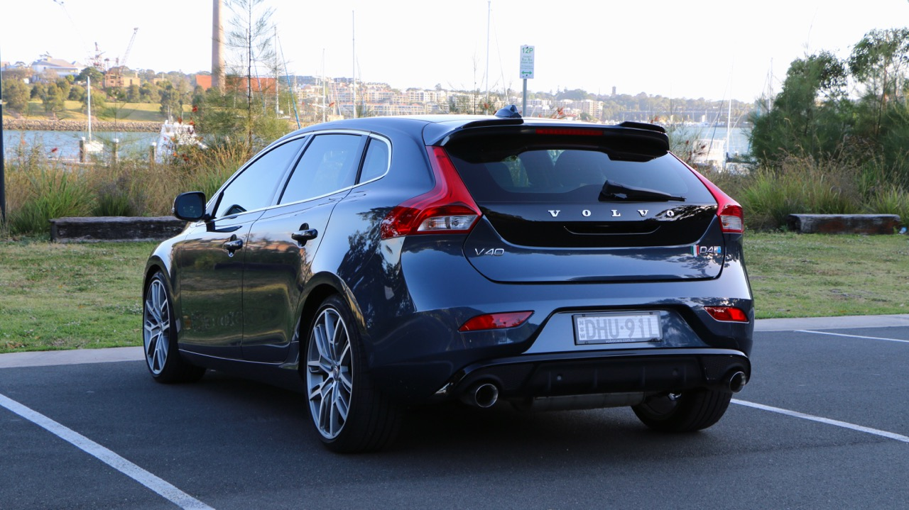 The rear end of a 2017 Volvo V40