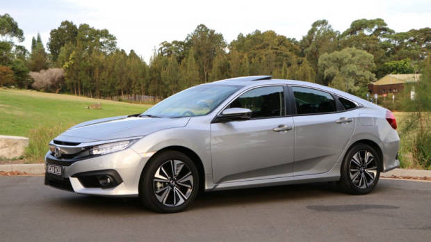 Silver 2017 Honda Civic profile