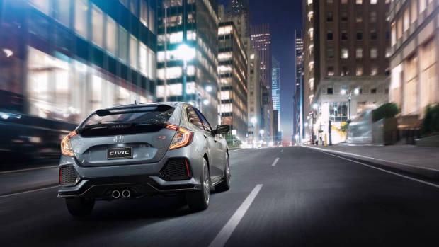 2017 Honda Civic hatchback grey rear