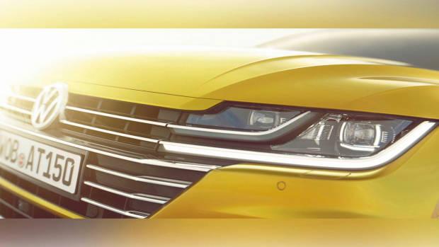 2018 Volkswagen Arteon yellow front teaser