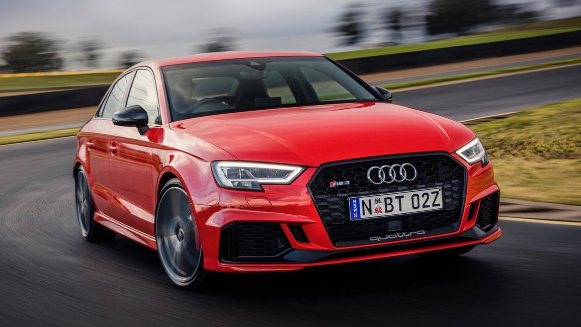 2017 Audi RS3 sedan red front moving