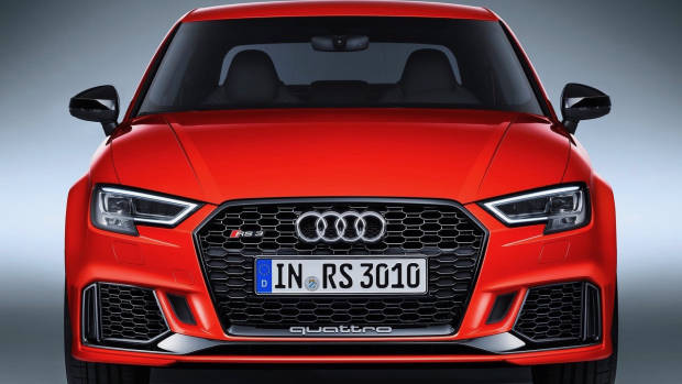 2017 Audi RS3 sedan red front on