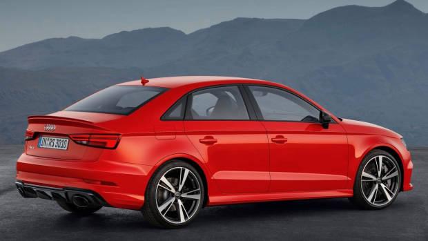 2017 Audi RS3 sedan red rear static