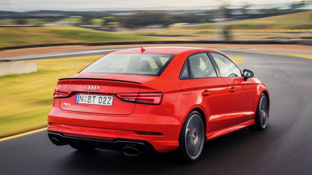 2017 Audi RS3 sedan red rear