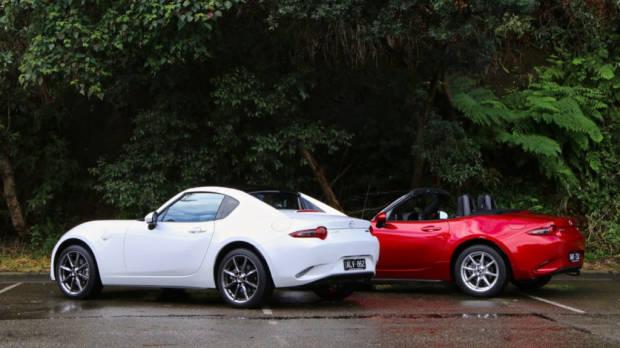 2017 Mazda MX-5 RF 2.0 GT Crystal White and 2017 Mazda MX-5 1.5 Roadster Soul Red