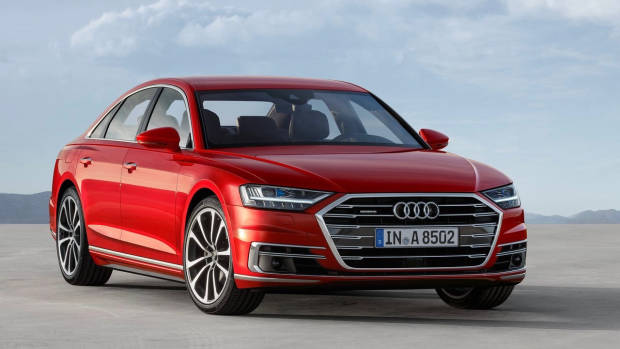 2018 Audi A8 red front