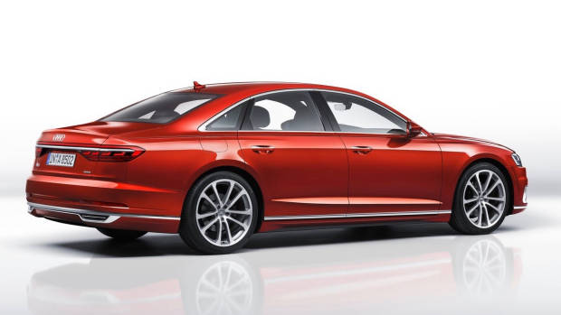 2018 Audi A8 red rear