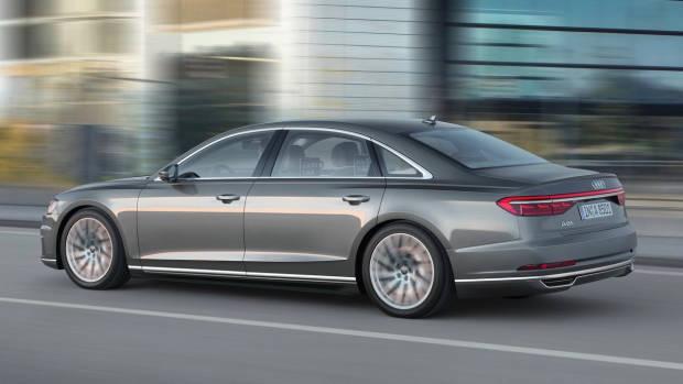 2018 Audi A8L grey side rear