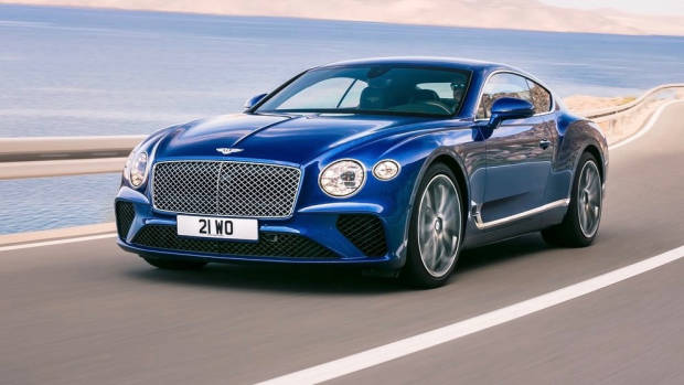 2018 Bentley Continental GT blue front side moving