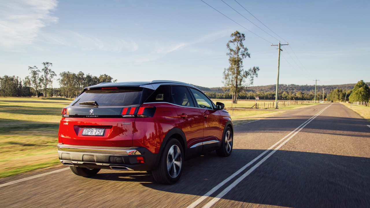 2018 Peugeot 3008 GT Line Ultimate Red Rear End Driving