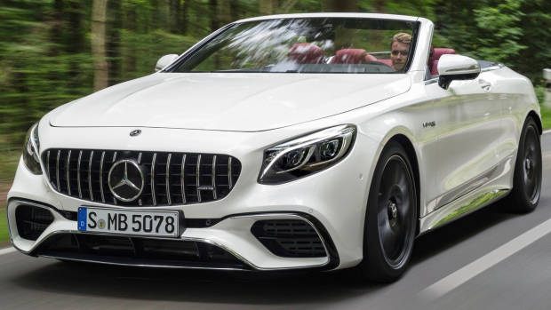 2018 Mercedes-AMG S-Class cabriolet white front moving