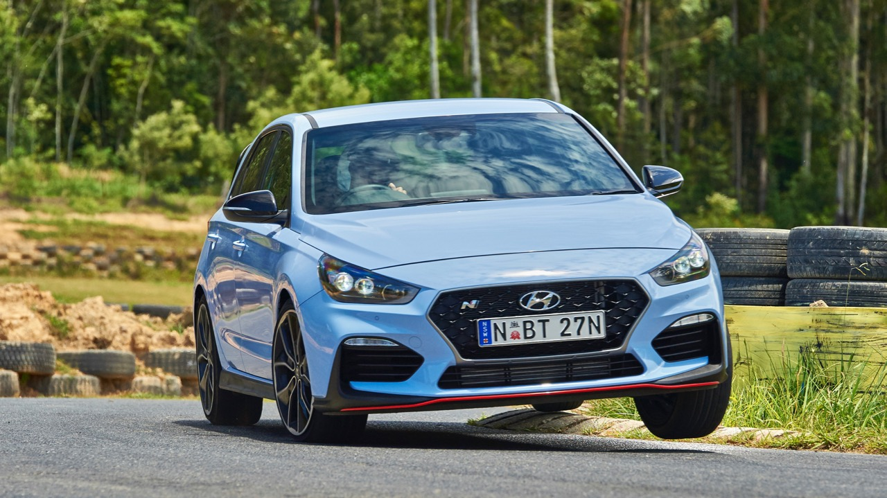 2018 Hyundai i30 N Performance Pack on Track Performance Blue Front End