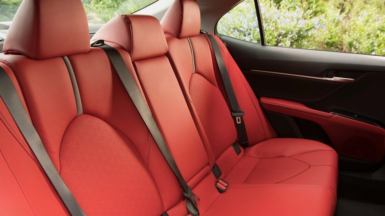 2018 Toyota Camry Red Leather Interior Back Seat