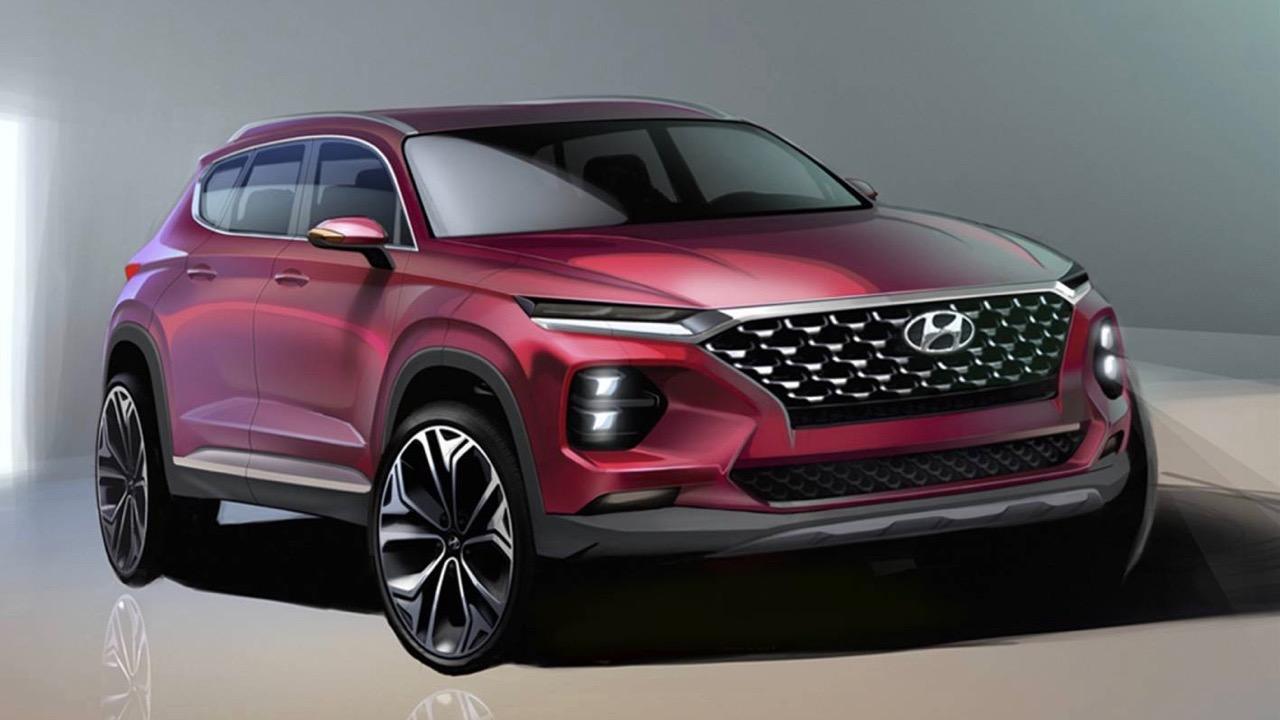 2019 Hyundai Santa Fe red sketch front