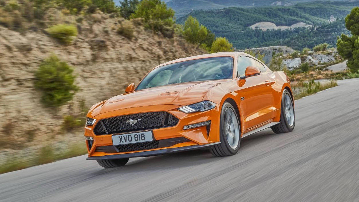 2018 Ford Mustang GT coupe Orange Fury front moving