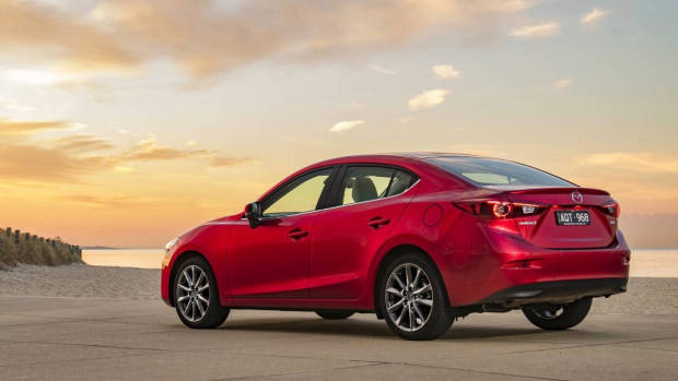 2018 Mazda 3 Astina sedan Soul Red Crystal rear 3/4