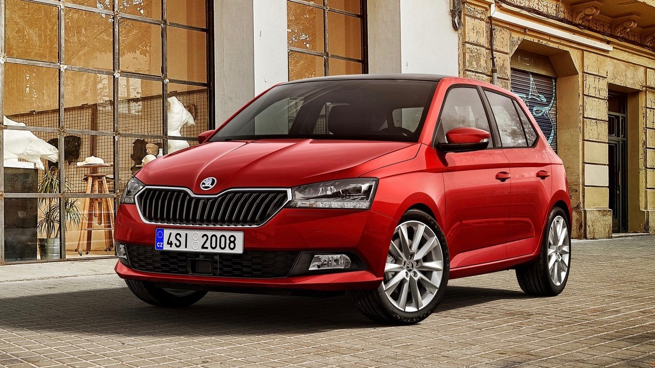 2019 Skoda Fabia red hatch front