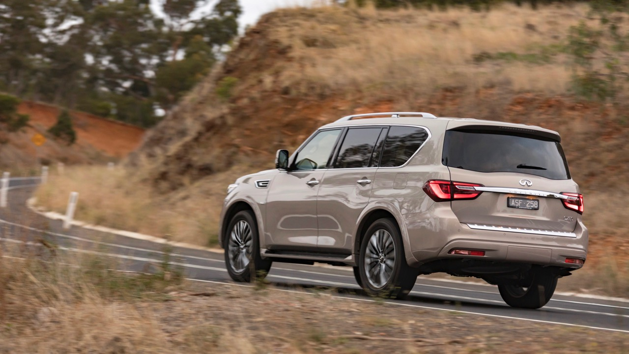 2018 Infiniti QX80 Review Champagne Quartz Rear End