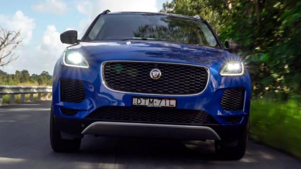 2018 Jaguar E-Pace review P250 Caesium Blue front end full