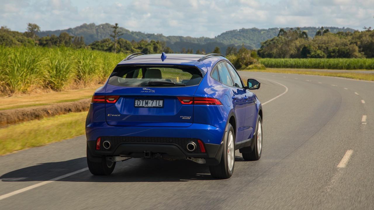 2018 Jaguar E-Pace review P250 Caesium Blue rear end driving