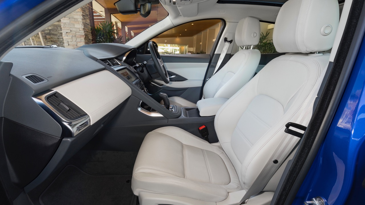 2018 Jaguar E-Pace review P250 Oyster grey leather interior