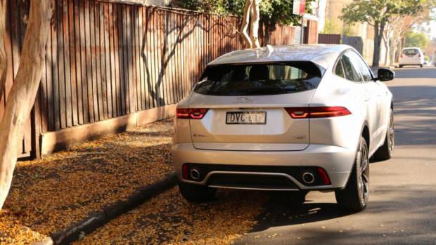 2018 Jaguar E-Pace review D180 Indus Silver rear end