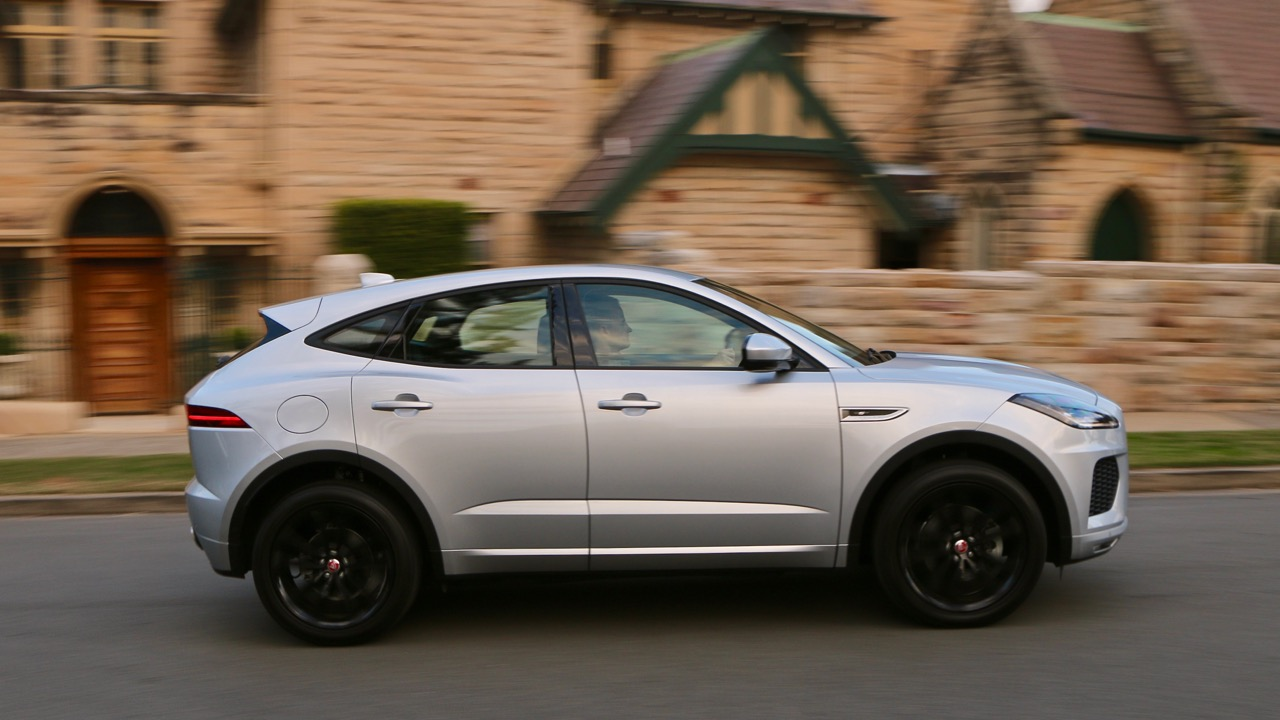 2018 Jaguar E-Pace review D180 Indus Silver side profile