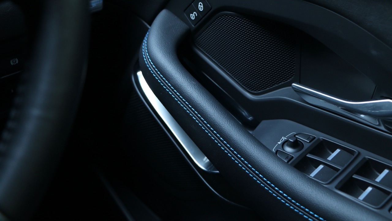 2018 Jaguar E-Pace review D180 blue stitching