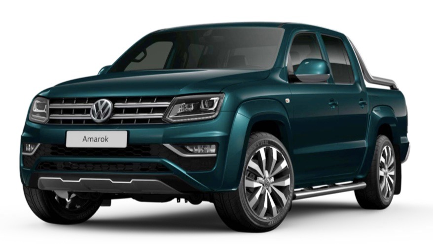 2019 Volkswagen Amarok Ultimate V6 Peacock Green front 3/4