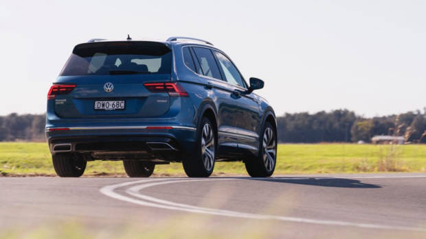 2018 Volkswagen Tiguan Allspace R Line Silk Blue driving rear end