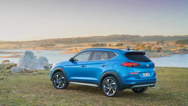 2019 Hyundai Tucson Highlander Aqua Blue close rear 3/4