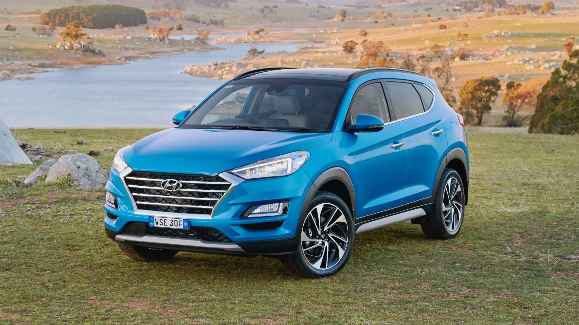 2019 Hyundai Tucson Highlander Aqua Blue front 3/4