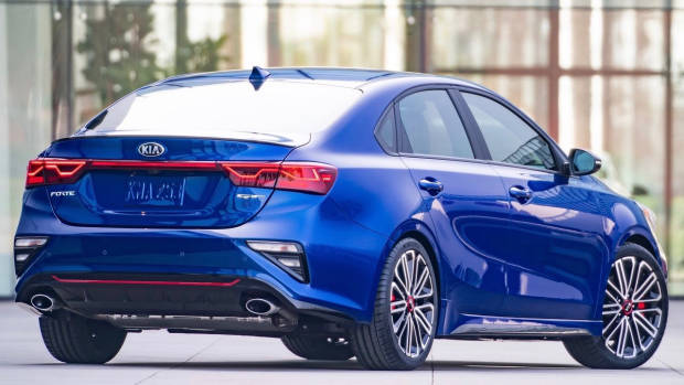 2019 Kia Cerato GT US blue rear