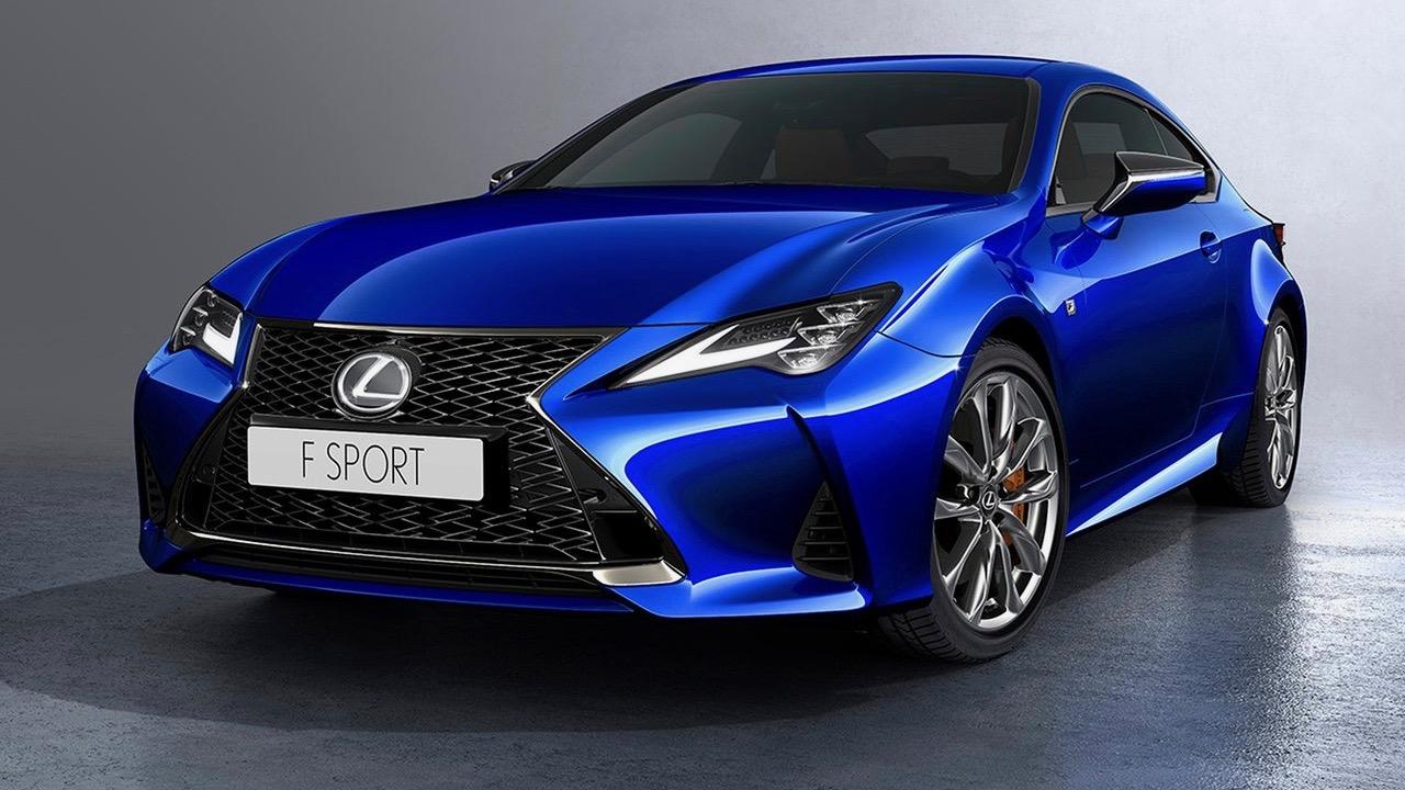 2019 Lexus RC F-Sport blue front 3/4