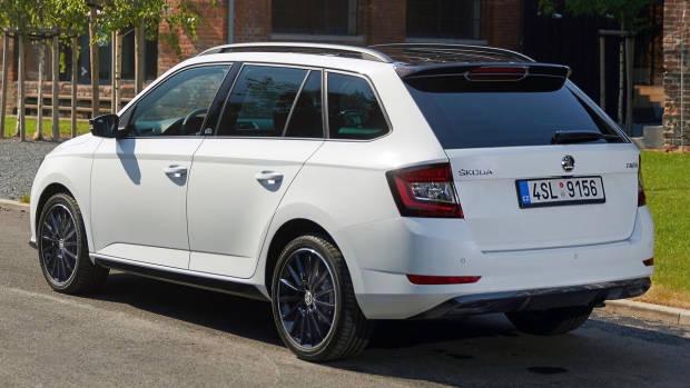 2019 Skoda Fabia Monte Carlo wagon white rear 3/4