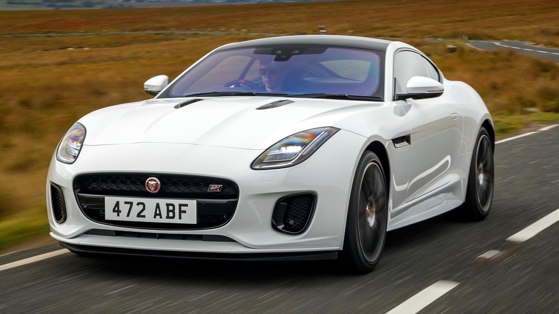 2020 Jaguar F-Type Chequered Flag white front 3/4 driving
