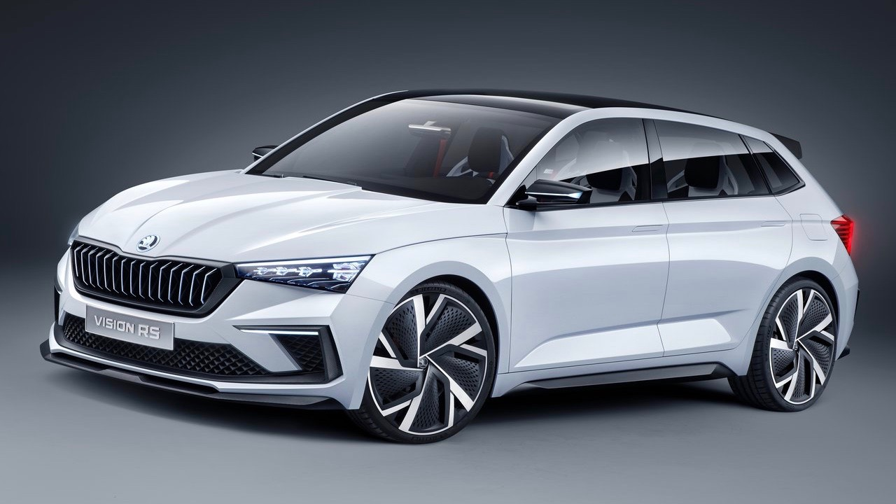 Skoda Vision RS concept white front 3/4