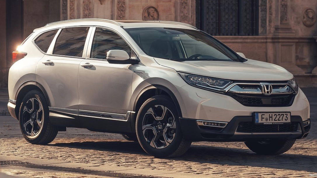 2019 Honda CR-V hybrid white front 3/4