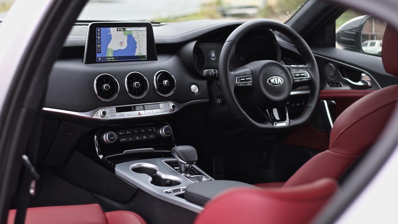 2019 Kia Stinger GT red leather interior dashboard