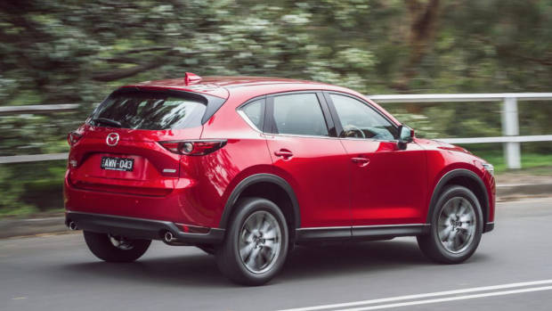 2019 Mazda CX-5 Akera Soul Red Crystal rear 3/4 driving