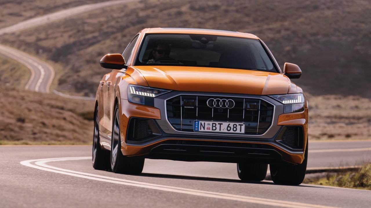 2019 Audi Q8 Dragon Orange front end driving