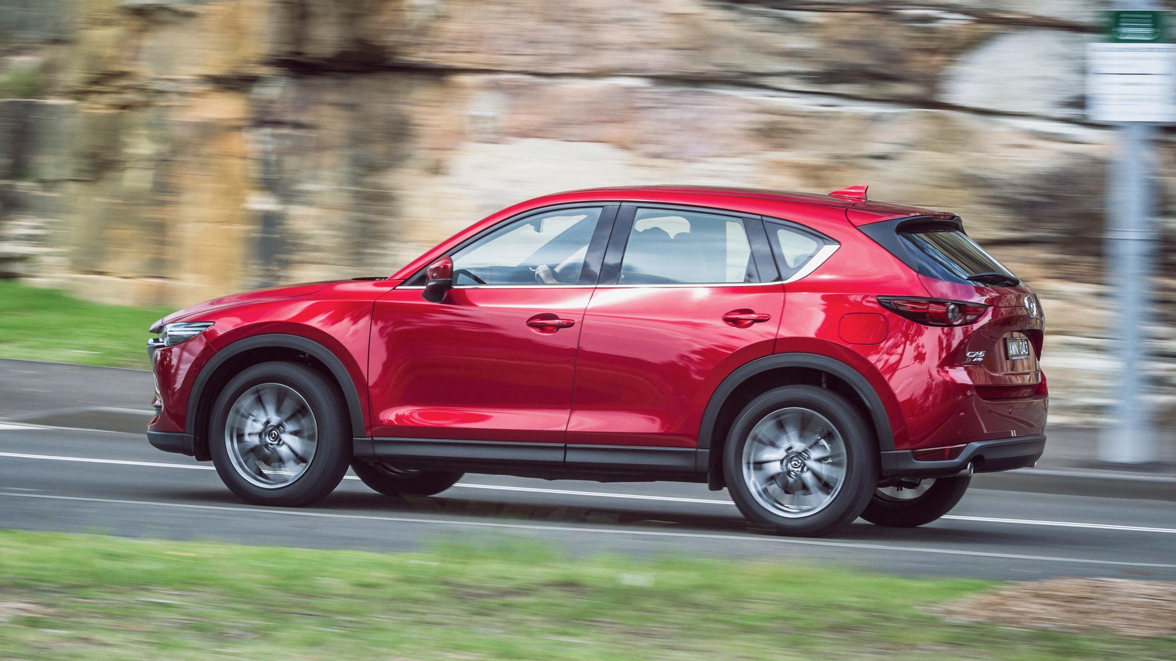 2019 Mazda CX-5 Akera Soul Red Crystal rear driving