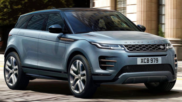 2019 Range Rover Evoque blue front 3/4 driving