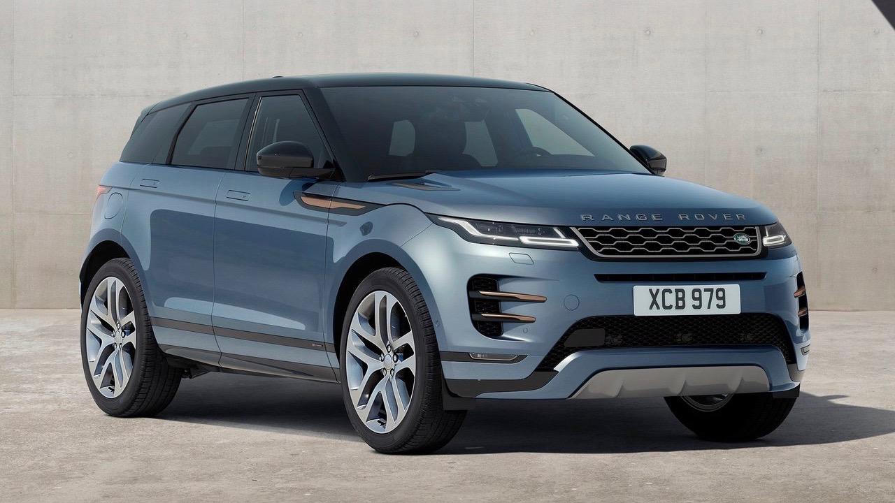 2019 Range Rover Evoque blue front 3/4
