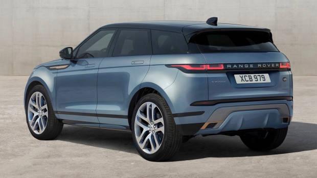 2019 Range Rover Evoque blue rear 3/4