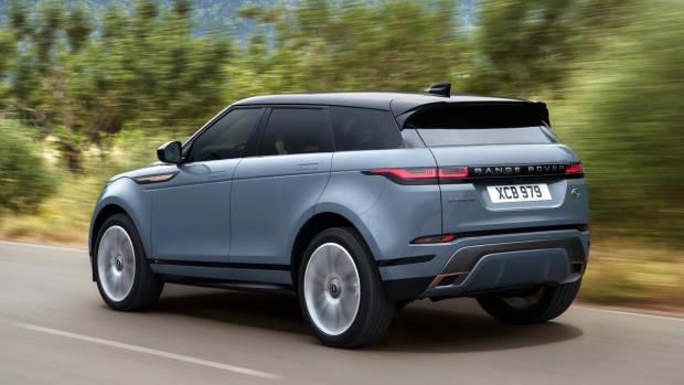 2019 Range Rover Evoque blue rear driving