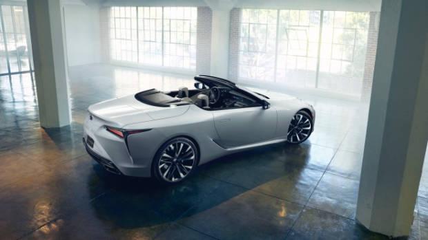 2019 Lexus LC convertible concept white rear end