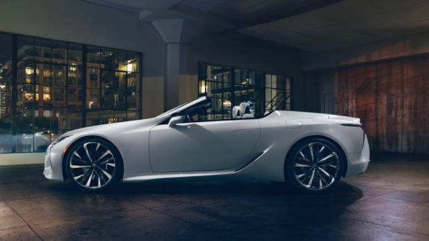 2019 Lexus LC convertible white profile